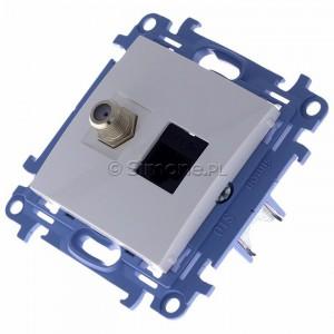 Simon 10 CASFRJ455.01/11 - Gniazdo antenowe SAT pojedyncze + Gniazdo komputerowe kat.6 - Biały - Podgląd zdjęcia 360st. nr 7