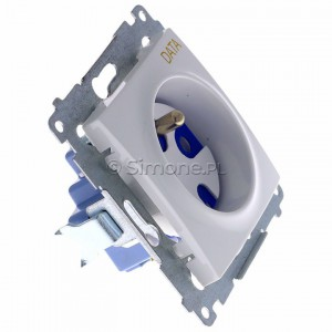 Simon 54 DGD1.01/11 - Gniazdo DATA z bolcem uziemiającym i kluczem uprawniającym - Biały - Podgląd zdjęcia 360st. nr 2