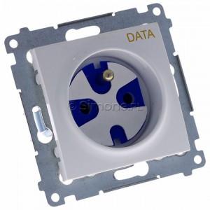 Simon 54 DGD1.01/11 - Gniazdo DATA z bolcem uziemiającym i kluczem uprawniającym - Biały - Podgląd zdjęcia 360st. nr 1