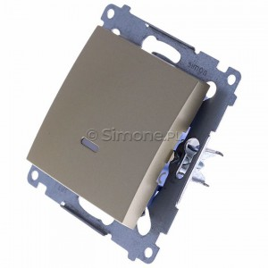 Simon 54 DW1L.01/44 - Łącznik pojedynczy z podświetleniem typu LED w kolorze niebieskim 10A - Złoty Mat - Podgląd zdjęcia 360st. nr 7