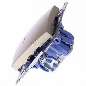 Simon 54 DW1L.01/44 - Łącznik pojedynczy z podświetleniem typu LED w kolorze niebieskim 10A - Złoty Mat - Podgląd zdjęcia 360st. nr 6