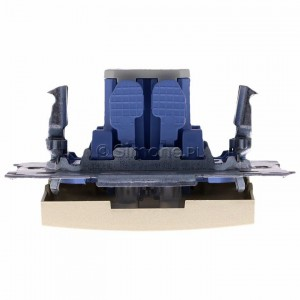 Simon 54 DW1L.01/44 - Łącznik pojedynczy z podświetleniem typu LED w kolorze niebieskim 10A - Złoty Mat - Podgląd zdjęcia 360st. nr 8